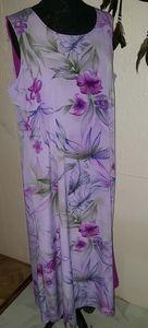 Purple Magenta Floral Print Reversible Maxi Dress